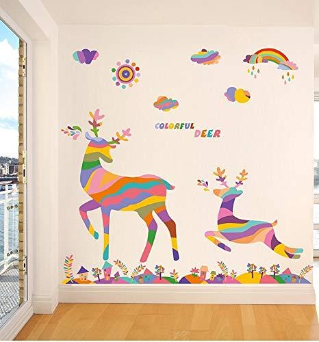 Schlafzimmer Loft (Vinyl-Aufkleber Hirsch Regenbogen für Dekoration Zimmer, Schlafzimmer, Schaufenster, Loft, Kindergärten, Flure, Treppen, Hofte. 1,20 x 90 cm von CHPYHOME)