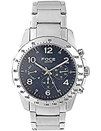 FOCE Silver Round Analog Wrist Watch for Men with Silver Metal Strap - F832GSSM-BLUE