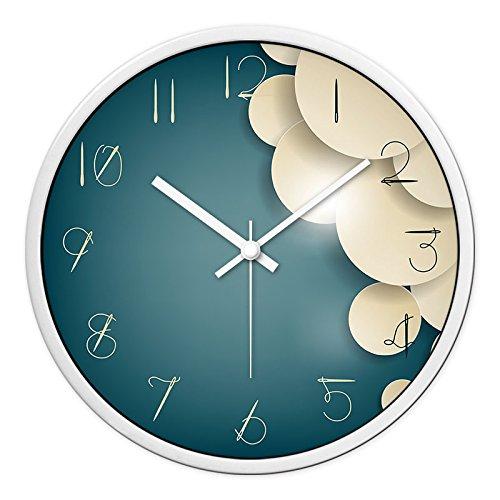 OLILEIO Wohnzimmer kreative Moderne runde Uhren Schlafzimmer stumm Thema Serie Wanduhr, 12 Zoll (30,5 cm Durchmesser), die White Cloud White Needle Box