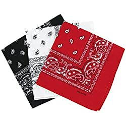 Bandanas paisley negro-blanco y rojo para hombre y mujer, bufanda por la cabeza unisex venden por 3