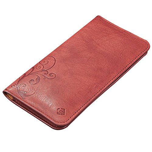 CORNMI Smartphone Leder Tasche - Handgefertigte Leder Brieftasche Tasche (Rotwein) (Taschen Geldbörsen Handgefertigte)