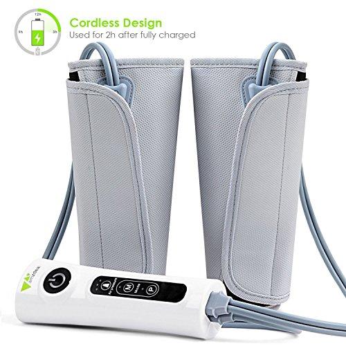 Amzdeal Massagegerät Beine Venentrainer Waden Massage, Luftkompression Beinwickel für Kalb Arm Fußzirkulation, mit eingebauten wiederaufladbare Batterie (Kalb-taste)