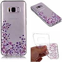 QFUN Funda Samsung Galaxy S8 Plus Silicona Transparente, Suave Carcasa Flexible con Dibujos [Flor de Cerezo Morado] Ultra Slim Fina Gel TPU Bumper Case Anti-Arañazos Antigolpes Cubierta