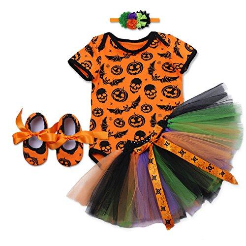 OBEEII Baby Mädchen 1. Halloween Kostüm Kürbis Schädel Strampler Rüschen Tutu Rock mit Stirnband Schuhe Weihnachten Allerheiligen Cosplay Partei Kleid für Neugeborene Kleinkind 3-18 Monate -