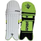SPARTAN Pro Batting Pads (Legguards) for Juniors (White and Green, 8-13 yrs)
