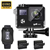 YDI G80 Action Camera 4K Waterproof 16MP Ultra HD Dual Screen WiFi Gyro Anti-shake Helmet Sports Cam underwater up to 30M with 2.4G Remote Control/2*1050 mAh Batteries/Mounting Accessories Kits