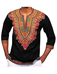 PengGengA Camiseta Estampada Tribal Africana Tradicional del Modelo para Los Hombres