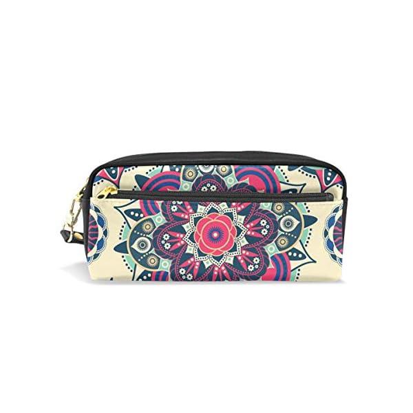 ALARGE – Estuche de piel sintética con diseño de mandala étnico y floral para lápices, lápices, lápices, maquillaje…