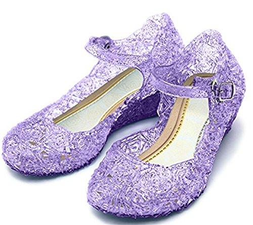 Kosplay Prinzessin Cinderella Absatz-Schuhe Kinder Glanz Weihnachten Verkleidung Karneval Party Halloween Fest Mädchen Sandalen Schuhe für Kinder, Größe 35 länge 20.5cm, Lila (Prinzessin Halloween)