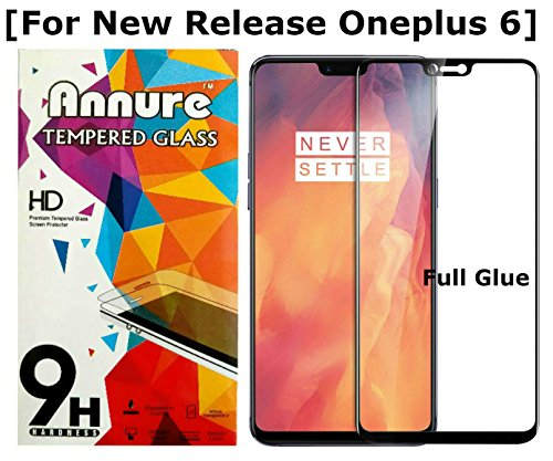 Annure® 3D [Shatterproof] Full Glue Tempered Glass Screen Protector for Oneplus 6/One Plus 6 - Black
