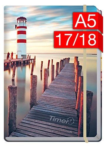 Chäff-Timer Premium A5 Kalender 2017/2018 [Leuchtturm] 18 Monate Juli 2017-Dezember 2018 – Gummiband, Einstecktasche – Terminkalender mit Wochenplaner – Organizer – Wochenkalender