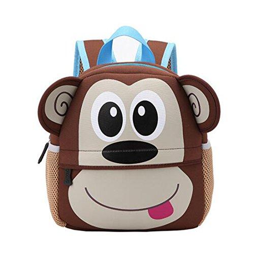 GWELL Tier Babyrucksack Wasserdicht Kindergartenrucksack Schultasche Kinder Mädchen Jungen affe