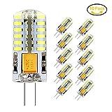 Jpodream® 3.5W G4 LED Lampe, 48X 3014SMD, 300LM, Ersatz für 35W Halogenlampen,12V AC / DC, 6000K Kaltweiß, 360° Abstrahlwinkel, LED Birnen, LED Leuchtmittel, 10er Pack