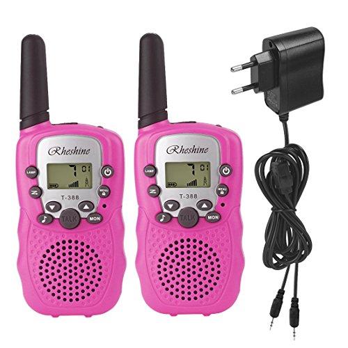Rheshine Walkie Talkie für Kinder Funkgerät Walki Talki PMR 446 lizenzfrei 8 Kanäle mit Akkus und Ladekabel LCD-display und Lampe VOX-Funktion (2er-Set) (Mit Akku und Ladekabel, Pink)