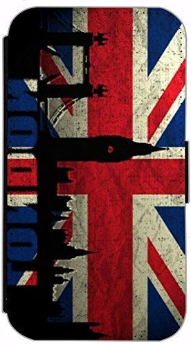 FioMi Flip Cover Hülle Samsung Galaxy S5 / S5 Neo Motiv 303 England Flagge London Rot Blau Schwarz Handy Tasche Etui Schutzhülle Flipcover Case Wallet Bookflip Buchflip (303) (London Galaxy S5 Samsung Case)