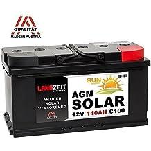 LANGZEIT 12V 110AH AGM Gel Batterie Solarbatterie Wohnmobil Boot Solar Akku 100Ah