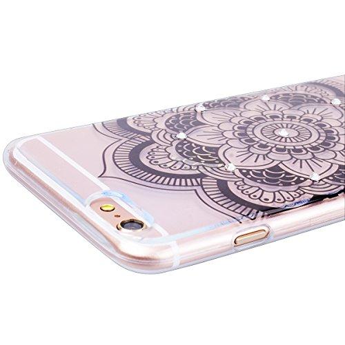 """WE LOVE CASE iPhone 6 / 6s 4,7"""" Hülle Weich Silikon iPhone 6 6s 4,7"""" Schutzhülle Handyhülle Im Durchsichtig Transparent Crystal Clear Diamant Glitzer Funkeln Löwenzahn Paar Muster Handytasche Cover Ca Sonnenblume"""