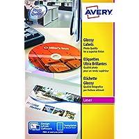 Avery Italia L7776-25 Etichette per DVD, 2 Pezzi per Foglio, Stampanti Laser, Diametro 117mm, 25 Fogli