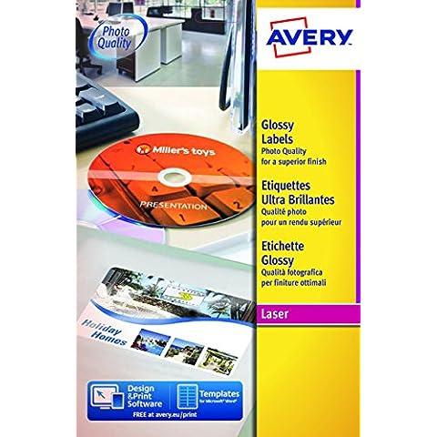 Avery L7769-40 Etichette Glossy per Stampanti Laser a Colori