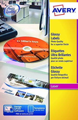 Avery L7767-40 Etichette Glossy per Stampanti Laser a Colori