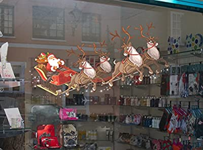Santa Sleigh and Reindeer Full Colour Window Cling Sticker. Christmas Window Decorations by Stickers4
