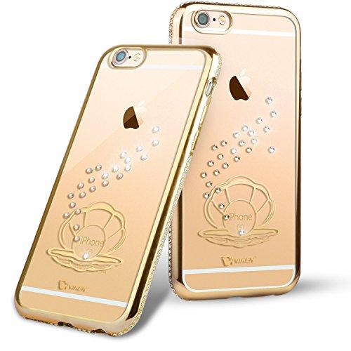 "Roreikes weich TPU Silikon Handy Hülle Schutzhülle, Bling Strass Diamond Crystal Electroplate Plating Scratch-Resistant Bumper Soft Rückseite Cover Tasche für Apple iPhone 6 6S (4.7"") 3#"