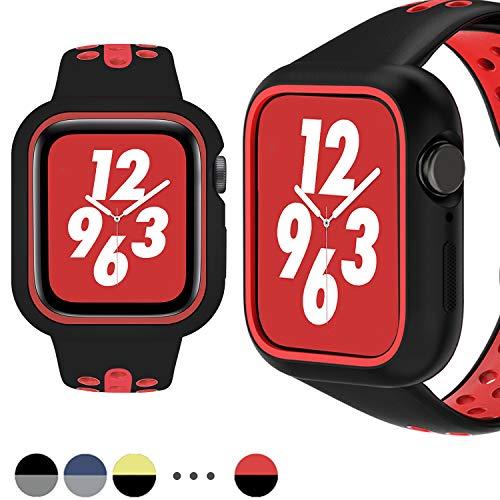 MroTech kompatibel mit Apple Watch Silikon Armband 40mm Uhrenarmband mit Hülle Robustes TPU Silikon Schutzhülle Sport Band und Case Cover für iWatch Series 4 40 mm Silikonarmband Schwarz/Rot Armband Case Cover