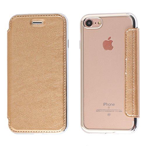 iPhone 6S Plus Hülle, iPhone 6 Plus Lederhülle, Coodio Ledertasche Handyhülle Wallet Brieftasche Tasche mit Kartenfach Schutzhülle Silikon Durchsichtig für iPhone 6S Plus / 6 Plus - Schwarz Goldene