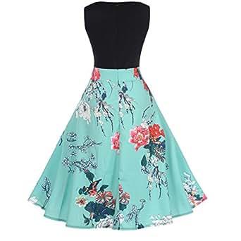 ❤️• •❤️ Luckycat Räumungsverkauf Damen Kleid mit Spitzenstickerei Vintage Spitze DREI Viertel Sleeve Hochzeit Kleid Swing Partykleid Cocktailkleid (Blau 004, S(Asians=EUXS))