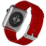 Apple Watch Armband, JETech 38mm Büffelleder Replacement Wrist Band mit Metallschließe Uhrenarmband für Apple Watch 38mm (Rot) - 2114