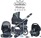 Chilly Kids Matrix II Kinderwagen Komplettset (Autositz & Adapter, Regenschutz, Moskitonetz, Schwenkräder) 15 Kreise Grün & Schwarz