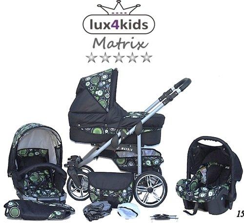 Chilly Kids Matrix II Kinderwagen Sommer-Set (Sonnenschirm, Autositz, Regenschutz, Moskitonetz, Schwenkräder) 15 Kreise Grün & Schwarz