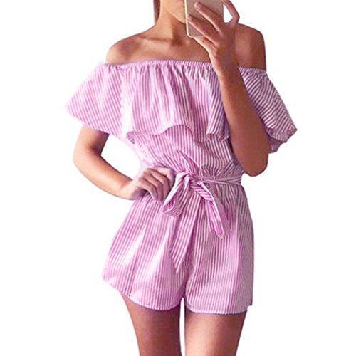 Damen Sommer Jumpsuit Elegant Streifen Schulterfrei Bowknot Overall Playsuit Mode (XL, Rosa) (Rosa Jumpsuit)