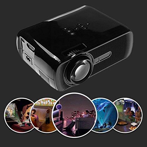 Lorenlli mini proiettore led hd 1080p 1500 lm proiettore home theater home multimedia cinema tv laptop smartphone bl-80 nero