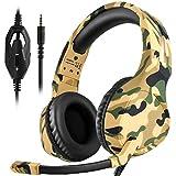 Dxnbikt Gaming Kopfhörer mit Mikrofon PS4, Xbox One Headset für Mac, PC 3,5 mm Rauschunterdrückung Over-Ear Kopfhörer (Gelb Camo)