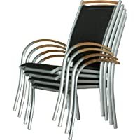 IB-Style - Mobili da gardino DIPLOMAT | 6 variazioni | 6x sedia impilabile in argento / nero / teak | grouppo - set - lounge - resistente alle intemperie