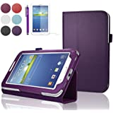 "SAVFY Samsung Galaxy Tab 3 7.0 7-inch Leather Case Cover and Flip Stand, Bonus: + Screen Protector + Stylus Pen + SAVFY Cleaning Cloth (for Galaxy Tab 3 7"" INCH P3200/ P3210, WiFi or 3G+WiFi) (flip stand PURPLE)"