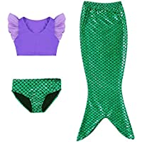Niñas Morado deportes chaleco con aletas swimmable Bañador de cola de sirena