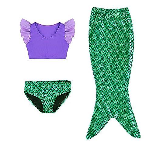 Kleine Mädchen lila Sport Weste mit Fin Swimmable Meerjungfrau Schwanz Badeanzug Meerjungfrau Kostüm (Prinzessin Gekräuselten)