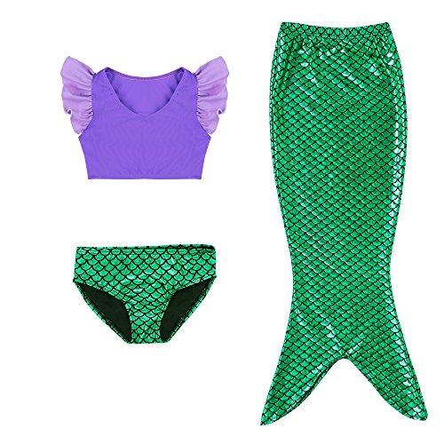 Kleine Mädchen lila Sport Weste mit Fin Swimmable Meerjungfrau Schwanz Badeanzug Meerjungfrau Kostüm (100(3-4Y)) (Kind Kostüm Meerjungfrau Kleine)