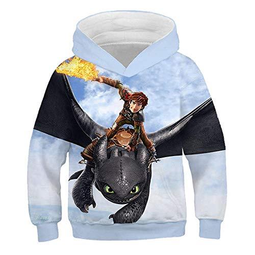 \t Kinder Hoodies 3D Print Cartoon Dragon Kapuzenpullover Langarm Hoodie Oberbekleidung Sweatshirt Blue C-140 -