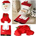 Viskey Christmas Santa Toilet Seat Cover and Rug Bathroom Set produced by eBuyGB - quick delivery from UK.