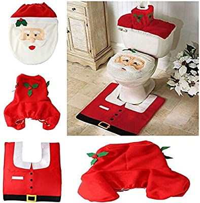 Viskey Christmas Santa Toilet Seat Cover and Rug Bathroom Set - low-cost UK light shop.