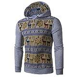 Yvelands Herren Kapuzenpullover Pullover Hoodie Sweatshirt Weihnachtsstrick Herbst Winter National Style Print Langarm Hoodie Top Bluse