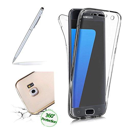 für Galaxy S8 Hülle, Clear Cover für Samsung Galaxy S8 360 Grad Full Body Silikon Schutzhülle, Girlyard Ultra Dünn Weiche TPU Transparent Vorne Hinten Komplett Schutz Handyhülle (Klar Cristal)