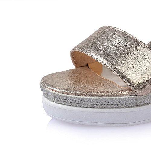 AllhqFashion Damen Weiches Material Schnalle Offener Zehe Hoher Absatz Sandalen Golden