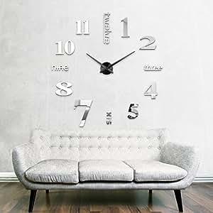 xxl3d grande horloge murale xxl 130cm miroir geante pendules murales noir xv cuisine. Black Bedroom Furniture Sets. Home Design Ideas
