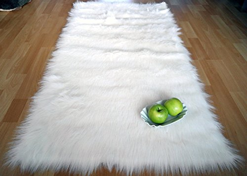 Alfombra Shaggy de Estilo Flokati 'Ameiny' - Pelo Largo (90 cm x 160 cm, Blanco / Blanca / Natura)