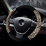 HCMAX Prima Felpa Suave Funda para Volante Cubierta del Volante del Vehículo Confortable Invierno Protector del Volante del coche Universal Diámetro 38cm (15 ')Estampado Leopardo