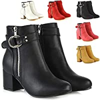ESSEX GLAM Womens Ankle Boots Block Low Mid Heel Ladies Zip Buckle Strap Smart Booties Shoes
